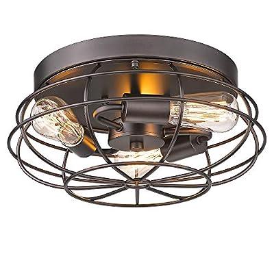 ARTSMIR Flush Mount Ceiling Light, 15 Inch 3-Light Industrial Close to Ceiling Light Fixture, Oil Rubbed Bronze Finish