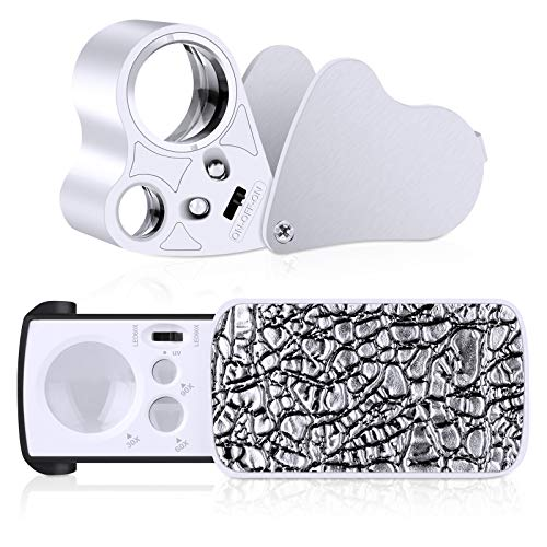 2 Pack Illuminated Jewelers Loupe, 30X 60X 90X Portable Eye Loupe Magnifier Lighted Magnifying Glass with Bright LED Light for Jewelry Coins Gems Stamps Watches Rocks
