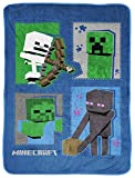 Jay Franco Minecraft Icons Throw Blanket - Measures 46 x 60 inches, Kids Bedding Features Creeper, Enderman, Zombie, Skeleton - Fade Resistant Super Soft Fleece (Official Minecraft Product)