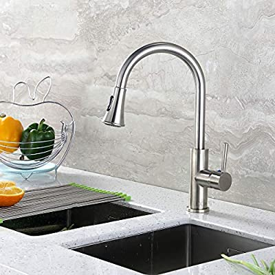 "Luxier KTS11-T-Par Contemporary 16"" Pull Out Spray Kitchen Sink Faucet cUPC NSF AB 1953 Lead Free"
