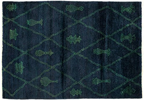 Solo Rugs Moroccan Zayane One of a Kind Hand Knotted Area Rug, Blue, 3' 10