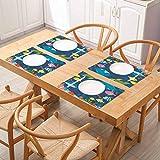 FloraGrantnan - Juego de 6 alfombrillas de lino y algodón, diseño de dibujos animados, diseño subacuático con algas Cor, para decoración de cocina, comedor, juego de 6