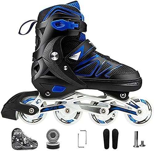 Kinder Herren Damen Inliner Inlineskates ABEC-7 Chrome Kugellager Einstellbare Unisex Fitness Skates für Erwachsene Anfänger mädchen Jungen XL(42-45) Blau