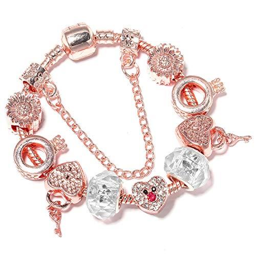 Pulseras de oro rosa con cuentas de cristal DIY corazón clave perlas pulseras joyería para mujeres C02 16cm