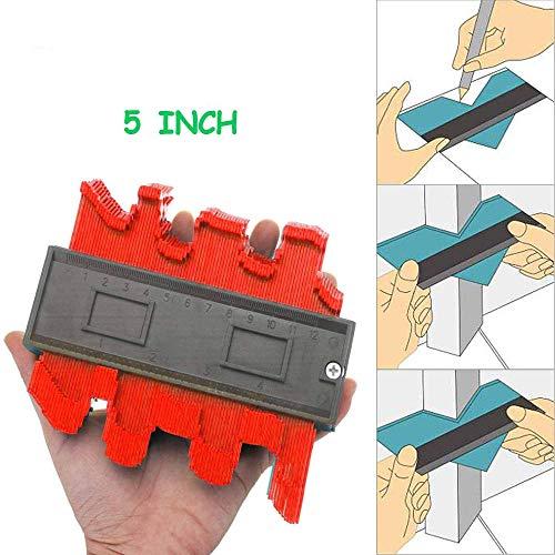 Konturlehre Holzbearbeitung, 12cm Konturlehre, Duplikator Kettenschärfer für U-Profil, Holz, Fliesenlaminat, Messwerkzeug-Rot