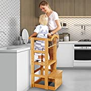 #LightningDeal IPOW Learning Stool Toddler Tower, Adjustable Height Kids Step Stool - Bamboo Kitchen Bathroom Counter Helper Montessori Stool Learning Furniture Standing Baking Tower with Safety Rail