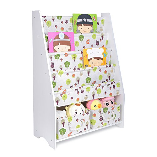 Best Children's Fabric Sling Type Bookcase with Pull Out Toy Boxes