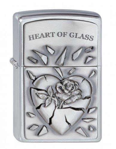 Zippo Zippo Feuerzeug 2000848 Heart of Glass Emblem Benzinfeuerzeug, Messing Chrome