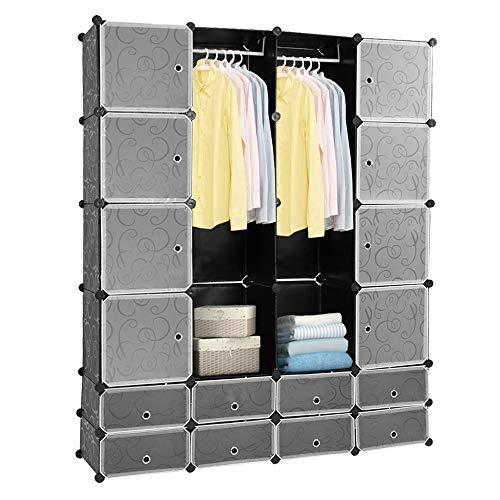Hengda 16 Würfel DIY Regalsystem Kleiderschrank Offen Kunststoff Garderobe mit Türen Garderobenschrank Schwarz 180 * 142 * 37CM