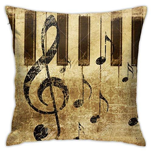 18' Funda Almohada Cuadrado Throw Pillow Case Poliéster Nota Musical Piano Retro Creativos Sofá Fundas Cojines Casa Oficina Coche