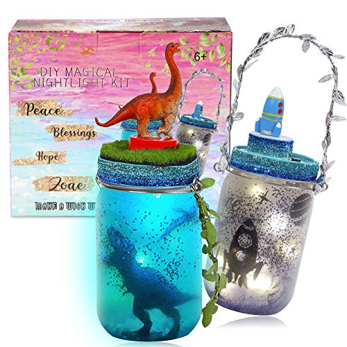 2 Music Dinosaur and Outer Space Night Light Craft Kit - DIY Musical Jar Lights Boys Arts and Crafts Project Fairy Lantern Garden Party Decor Toy Gift for Kids Birthday Space Theme Bedroom Decor
