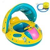mikketa 2歳児のプールデビュー 安心の足入れ式 屋根付き 子供用 ベビー浮き輪 空気入れセット プレゼントにもぴったり 日よけ 日焼け予防 6ヶ月から3歳ごろまで