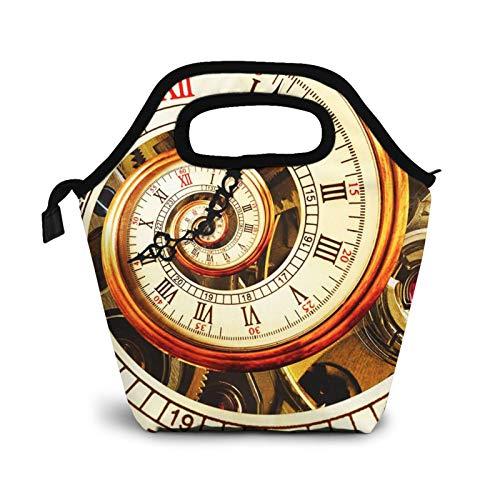 Bolsa Térmica Comida Bolsas De Almuerzo para Mujeres Hombres Niñas Niños Bolsa Isotérmica De Almuerzo Espiral de reloj dorado
