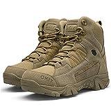 Bititger - Botas de desierto militares de piel, impermeables, con cremallera, botas tácticas y de combate para hombre, para patrullas, de seguridad, para policías, color Marrón, talla 43.5 EU