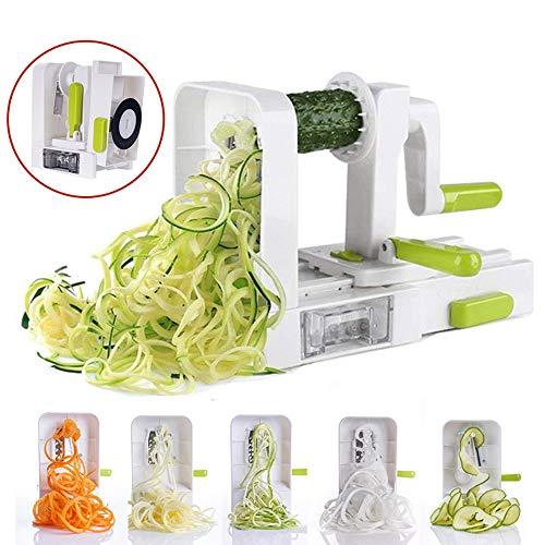 RBH Cortadora de Verduras en Espiral de 4 Cuchillas, máquina de Tornillo para Verduras de Grado Industrial Resistente al Agua Resistente y Multifuncional Resistente, Adecuada para el hogar/Hotel