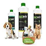 BiOHY Happy Pet Set   Limpiador para alfombras, tapicería, textiles y suelo   Elimina todos los olores y manchas como orina y comida de perros y gatos