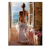 FFYYJJLEIデジタル油絵番号セクシーなレディアートホームデコレーション壁キャンバス絵画用リビングルームアート壁絵画フレーム