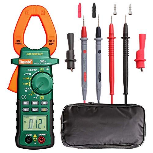 Digital Multimeter Zanggenamperemeter Strommesszange Clamp Meter Counts,Berührungsloser Multimeter, Voltmeter Amperemeter mit Messleitung Batterie für AC/DC Spannung Strom Widerstand Kapazitanz