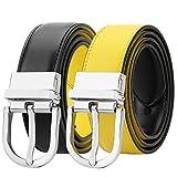 Falari Women Reversible Belt Genuine Leather Fashion Dress Belt With Single Prong Buckle 6027-YELLOW-XL