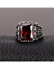Vintage Crystal Ring with Red Crystal Stainless Steel Size 9