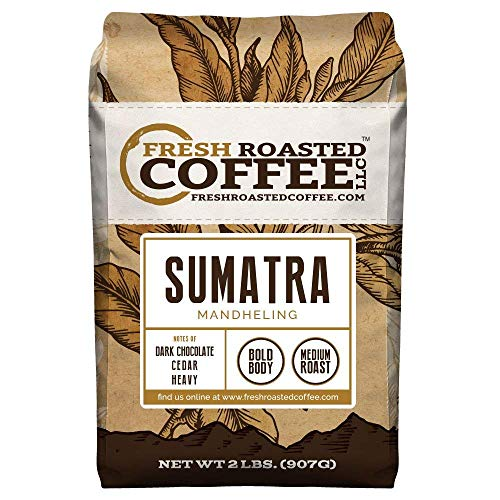 Fresh Roasted Coffee LLC, Sumatra Mandheling Coffee, Medium Roast, Low Acidity, Whole Bean, 2 Pound Bag