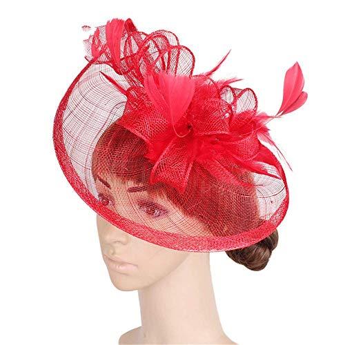 Lxddjth Damas Mujeres Chica Tocados Mujeres Fascinator Elegante Sombrero Nupcial Pluma Pinza...