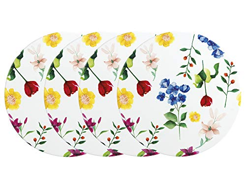 Maxwell & Williams DU0139 - Set di 4 sottobicchieri per bevande con design Contessa in ceramica, bianco, 9,5 cm, 4 pezzi
