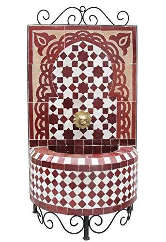 Saharashop Marokkanischer Mosaikbrunnen Mini Bordeaux, orientalischer Gartenbrunnen, Mosaik Brunnen für Garten Balkon Terrasse Zimmer