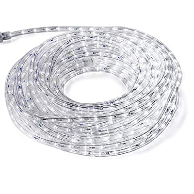 FOEERS 3M 10ft 110V Led Rope Lights Outdoor Wedding Christmas Holiday Decoration Lights (White)