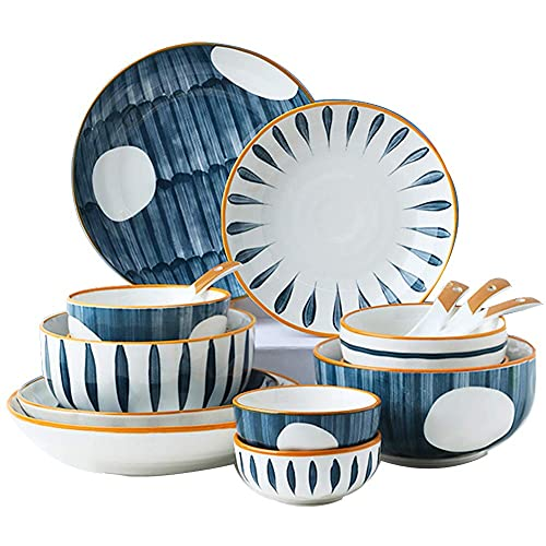 Juego de vajilla fina, juego de vajilla de porcelana, juegos de platos y cuencos de cerámica, juego de platos de gres de esmalte reactivo redondo Vintage Lounge de creatividad moderna para cocina / co