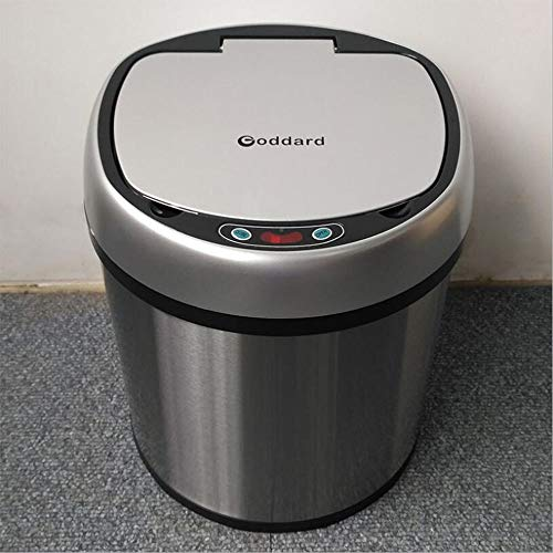 HRFHLHY FamiliekostenWoonkamer badkamer binnen elektrisch roestvrij staal met deksel vuilnisbak Dubbellaagse automatische inductie slimme vuilnisbak
