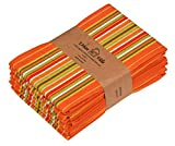 Urban Villa Kitchen Towels, Premium Quality, 100% Cotton Dish Towels,Mitered Corners,Ultra Soft (Size: 20X30 Inch), Orange Waffle Stripes, Highly Absorbent Bar Towels & Tea Towels - (Set of 6)