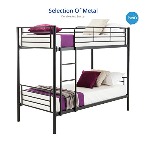mecor Twin over Twin Metal Bunk Beds Frame with Ladder for Kids/ Adult ,Black