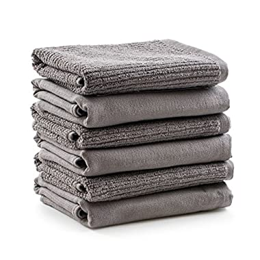 Super Absorbency Large Kitchen Towels - Thick Terry Stitches to Absorb on One Half, Flat Woven Stitches for Drying on the Other - 100% Natural Cotton - Exclusively by Aria Luxury Kitchen- 6 Pack!