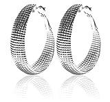 Pendientes de plata de ley 2LIVE, aretes grandes decorativos, ovalados, largos, anchos