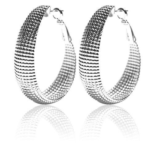 2LIVEfor Creolen Silber groß Ohrringe Silber hängend Versilbert Elegant Ornamente verziert Hoops Lang Oval Hoop earrings Creolen Breit Groß