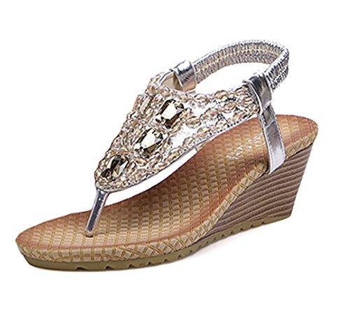 Dayiss Damen Strass Plateau Sandaletten mit Keilabsatz Strandschuhe Sommer Schuhe (EU37.5=Hersteller Gr. 38, Silber)
