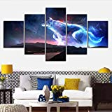 5 Pieces Fantasy Art Wolf Canvas Painting Animal Canvas Art Wall Decor HD Wallpaper Home Decor Sofa Background Murals (12x16 12x24 12x32inches,Unframed)