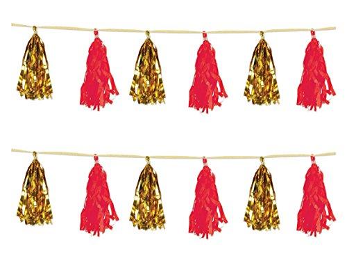 Beistle 59928-GDR, 2 Piece Metallic and Tissue Tassel Garlands, 9.75' x 8' (Gold/Red)