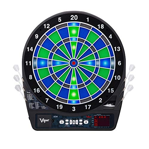 Viper by GLD Products Ion Electronic Dartboard, Illuminated Segments, Light Based Games, Green And Blue Segment Colors, Ultra Thin Spider to Increased Scoring Area, Target Tested Tough Segment For Enhanced Durability, black, one size (42-0003)