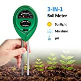 K KERNOWO pH Soil Meter, 3-in-1 Soil Testing Kit with Moisture, Light and PH...