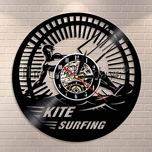 Jiedoud Kite Surfing Vinyl Uhr Lp Rekord Sea Sports Coole Wohnkultur Retro Modern Handmade Gift SurferNo Led