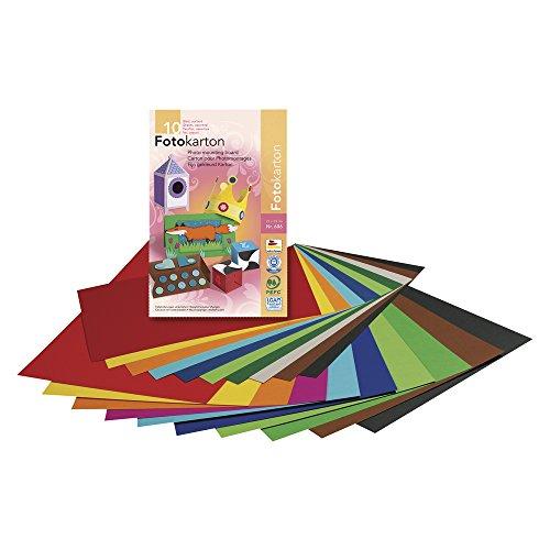 Rayher Hobby 81016000 Fotokarton, DIN A3, 29,7 x 42,0 cm, 300 g/m2, Block 10 Blatt, 10 Farben sortiert, bunt, Kartonpapier A3