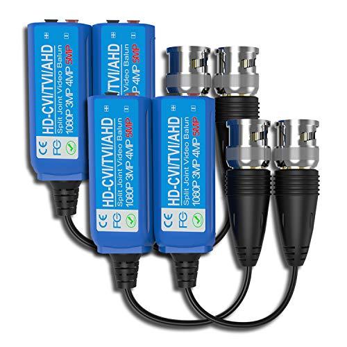 Transceptor de vídeo Balun, HUIRID 5MP Mini CCTV BNC HD CVI/TVI/CVBS/AHD Transmisor de unión dividida de vídeo pasivo Balun (2 pares)