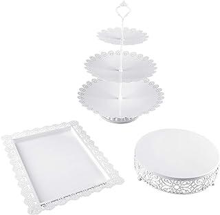 3 Pieces Cake Stand Set White Metal Cupcake Holder Dessert Display Plate Decor Serving Platter for Baby Shower Wedding Birthday Parties Celebration