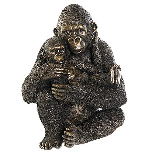 HOGAR Y MAS Gorila Familiar Dorado 23CM