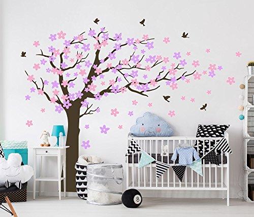 Bdecoll Wandaufkleber Kirschbaum Weiß Baum Wandsticker für Kinder Schlafzimmer/ Natur Vögel Art Dekor Heim Bunt aufkleber,Aufkleber/Sticker,Vinyl, für Kinderzimmer (Lila)