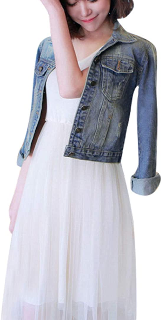 Fanteecy Denim Jackets for Women Classical Long Sleeve Button up Frayed Blue Jean Basic Washed Crop Coat Outwear