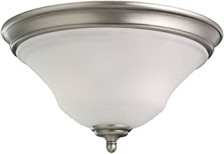 Sea Gull Lighting 75381-965 2-Light Flush Mount Fixture, Satin Etched Glass Shade and Antique Brushed Nickel