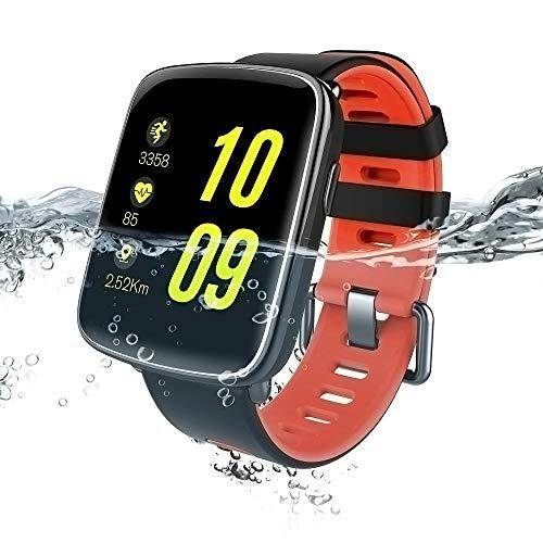 Smartwatch, Fitness Touchscreen Uhr IP68 Wasserdicht Armbanduhr, Pulsmesser Schlafmonitor Tracker Sportuhr Schrittzähler Stoppuhr für Damen Herren Smart Watches für iOS Android (Rot)